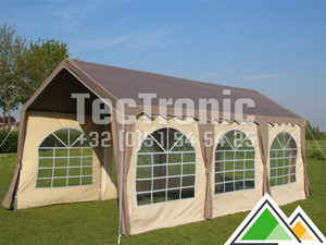 Polyester partytent basic 4x8 taupe/beige