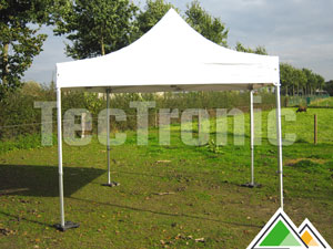 Professionele plooitenten 3 x 4,5 meter in beige of wit pvc van 550 gr/m²